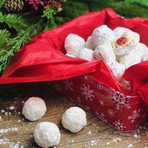 Cherry Pecan Snowball Cookies
