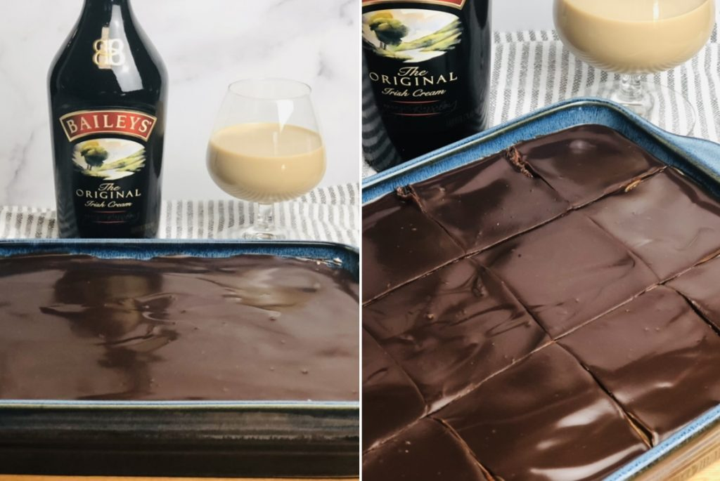 Baileys Irish Cream Brownies with Buttercream Frosting and Chocolate Ganache